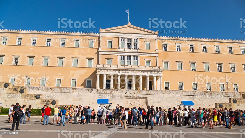 Parliament building in Athens, Greece stock photo