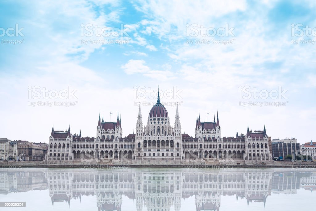 Parliament building in Budapest, Hungary on a cloudy day stock photo