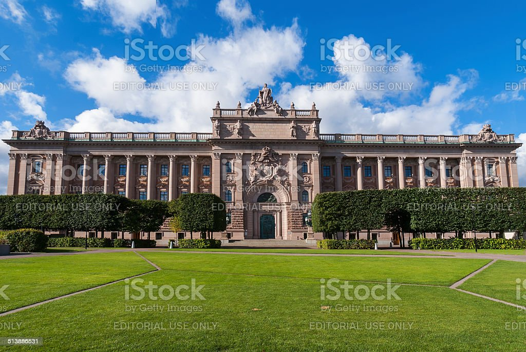Parliament building in Sweden. stock photo
