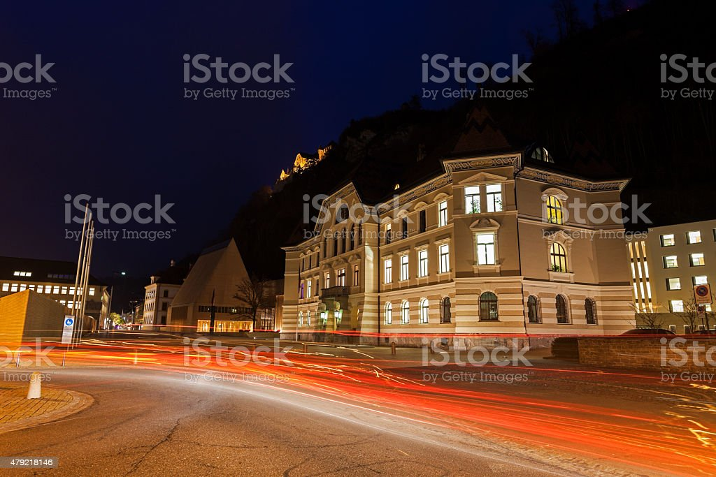 Parliament building in Vaduz stock photo