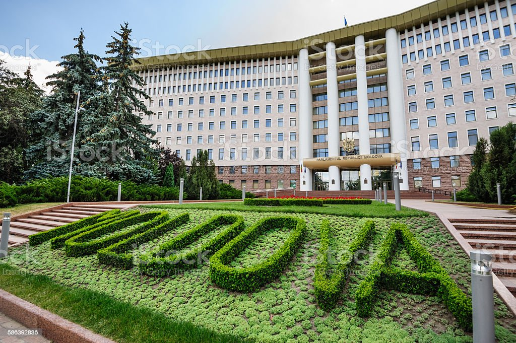 Parliament building, Republic of Moldova, Chisinau stock photo