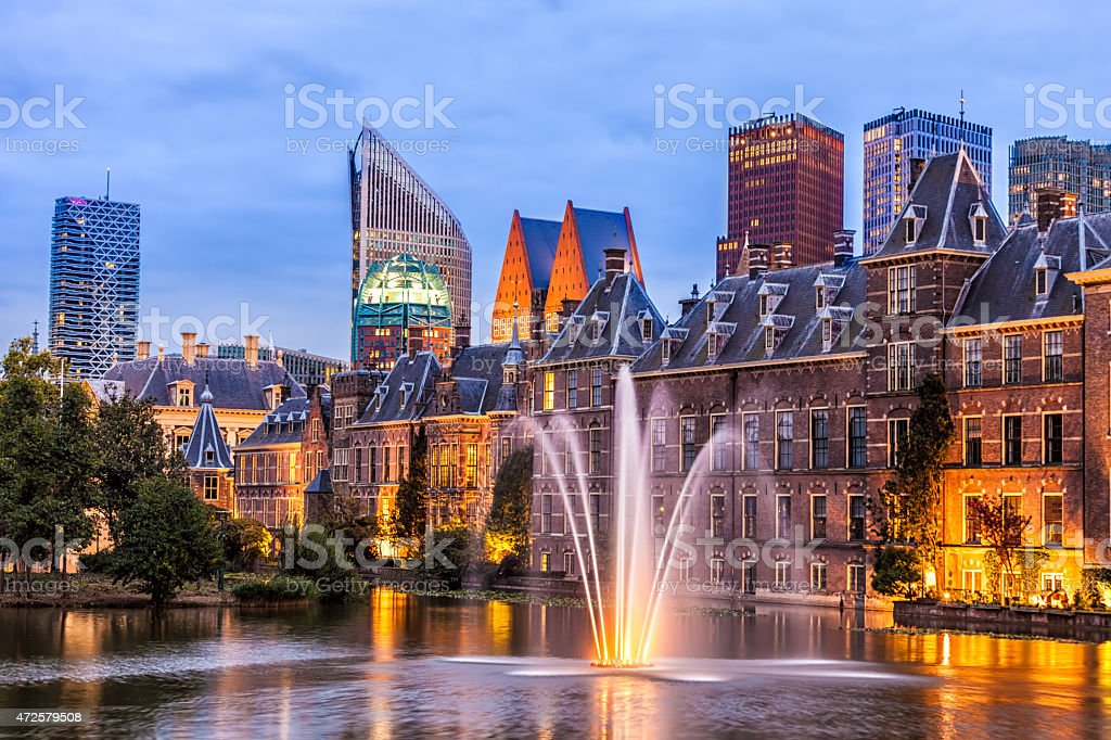 Parliament buildings in The Hague stock photo