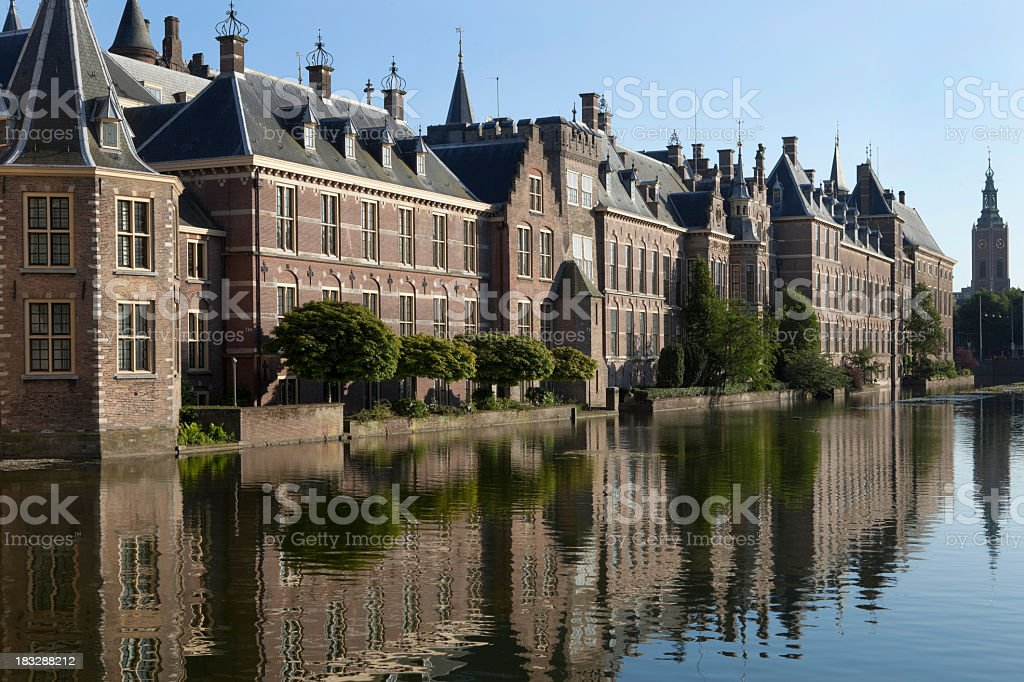 Parliament buildings in The Hague with sunny reflection stock photo