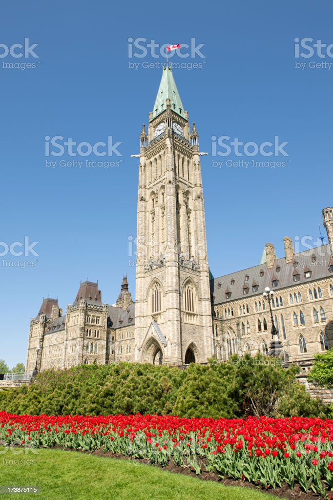 Parliament Builing in Ottawa during the annual Tulip Festival royalty-free stock photo