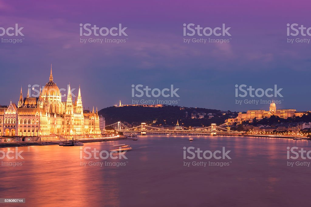Parliament Chain Bridge Castle Hill Citadella in Budapest at dusk stock photo