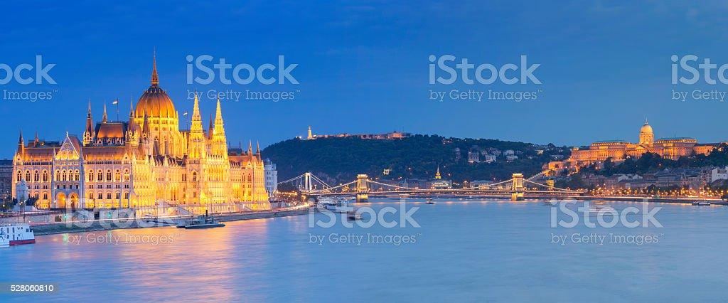 Parliament Chain Bridge Castle Hill Citadella in Budapest at dusk stock photo