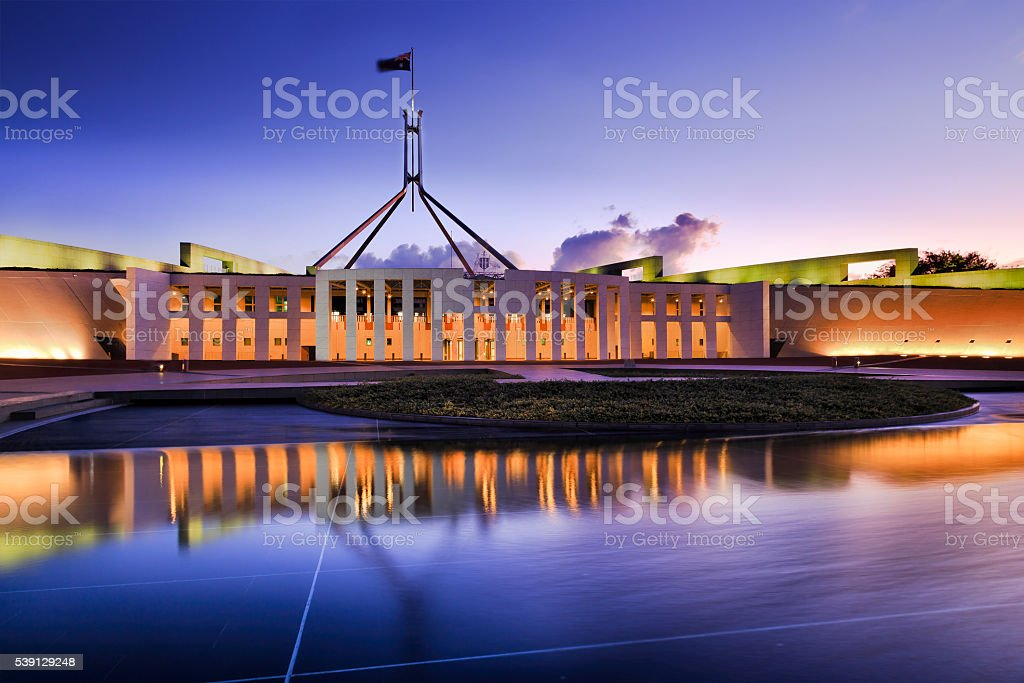 CAN Parliament Facade water ligh set stock photo