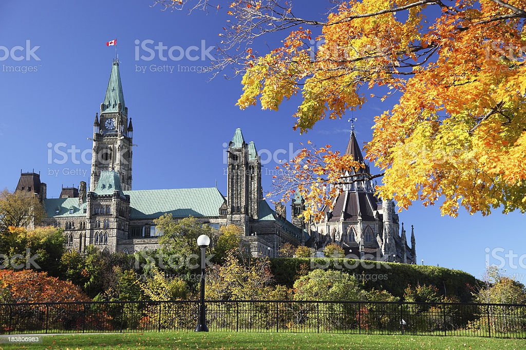 Parliament Hill in Autumn stock photo