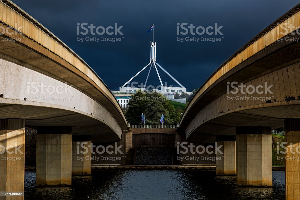Parliament House and Commonwealth Avenue Bridge stock photo