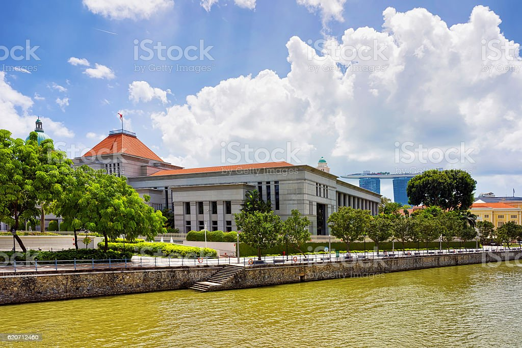 Parliament house building at Boat Quay by the Singapore River stock photo