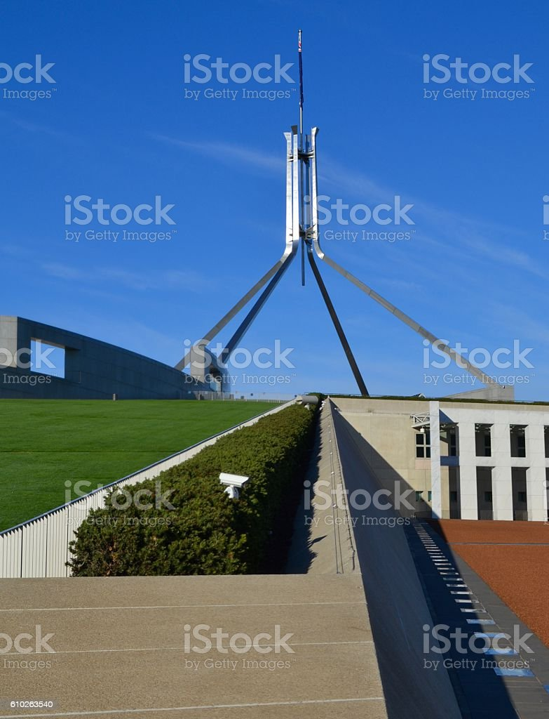 Parliament House building in Australian capital Canberra stock photo