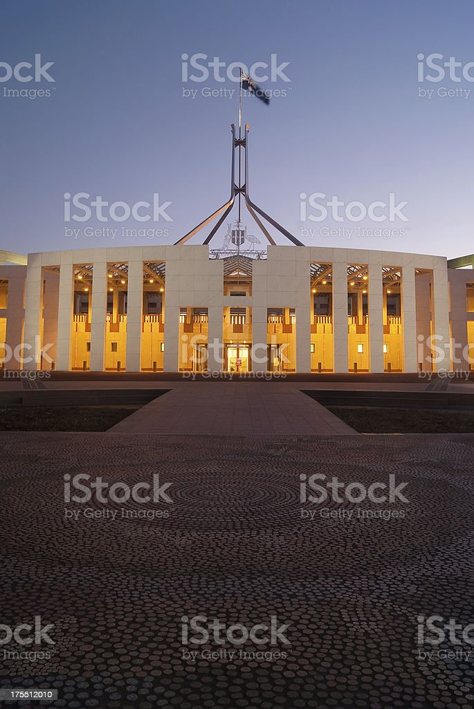 Parliament House in Canberra at night stock photo