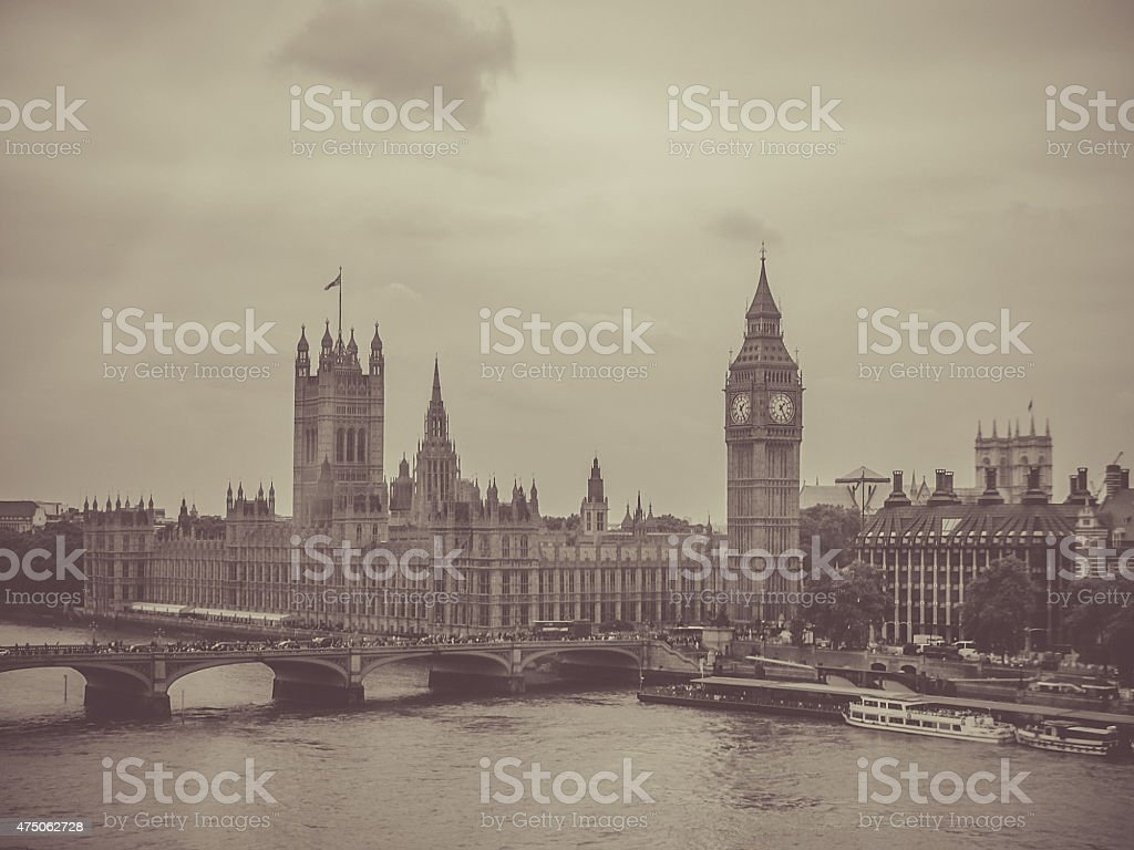 Parliament House, Thames River and Big Ben, London stock photo