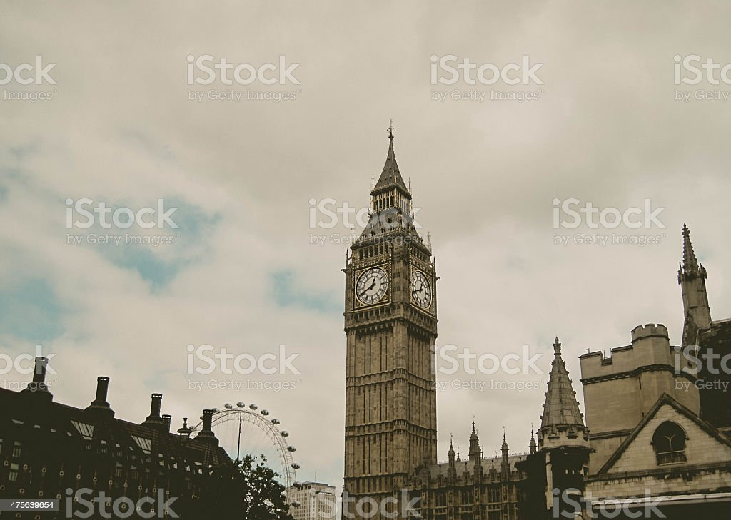 Parliament House with Clock Tower, Big Ben, and London Eye stock photo