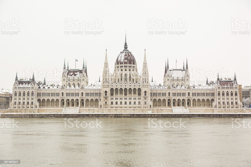 Parliament in Budapest on a Snowy Day royalty-free stock photo