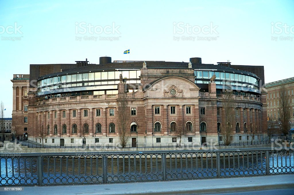 Parliament in  Stockholm stock photo