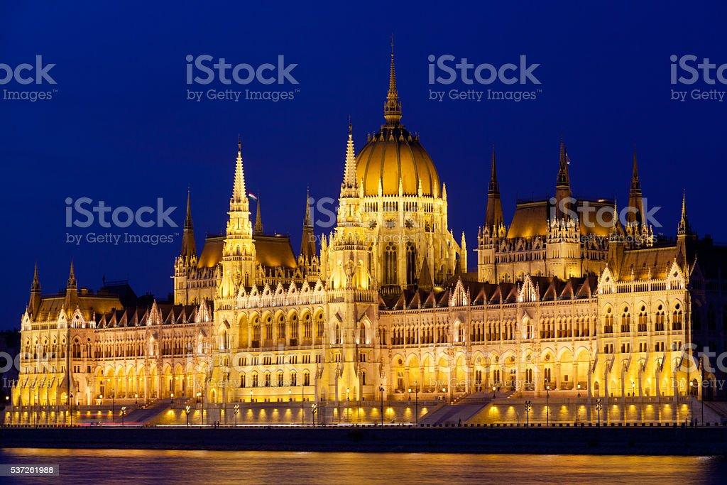 Parliament of Budapest at night, Hungary stock photo