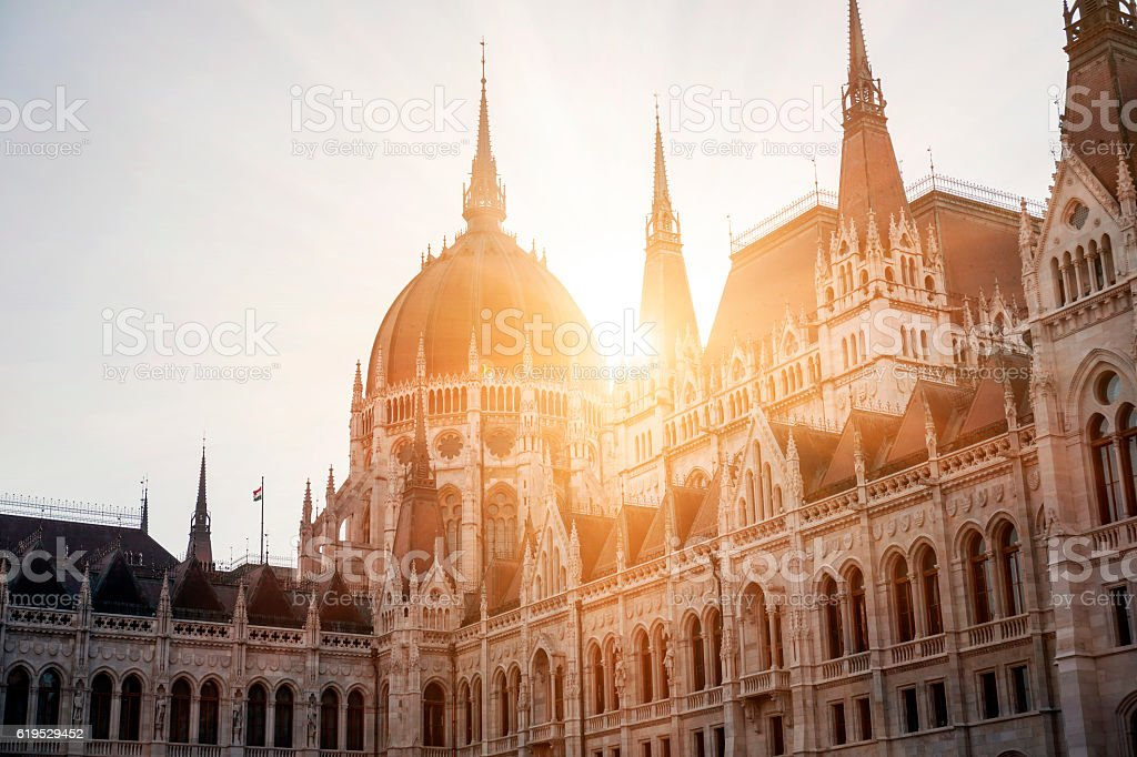 Parliament of Budapest at sunset stock photo