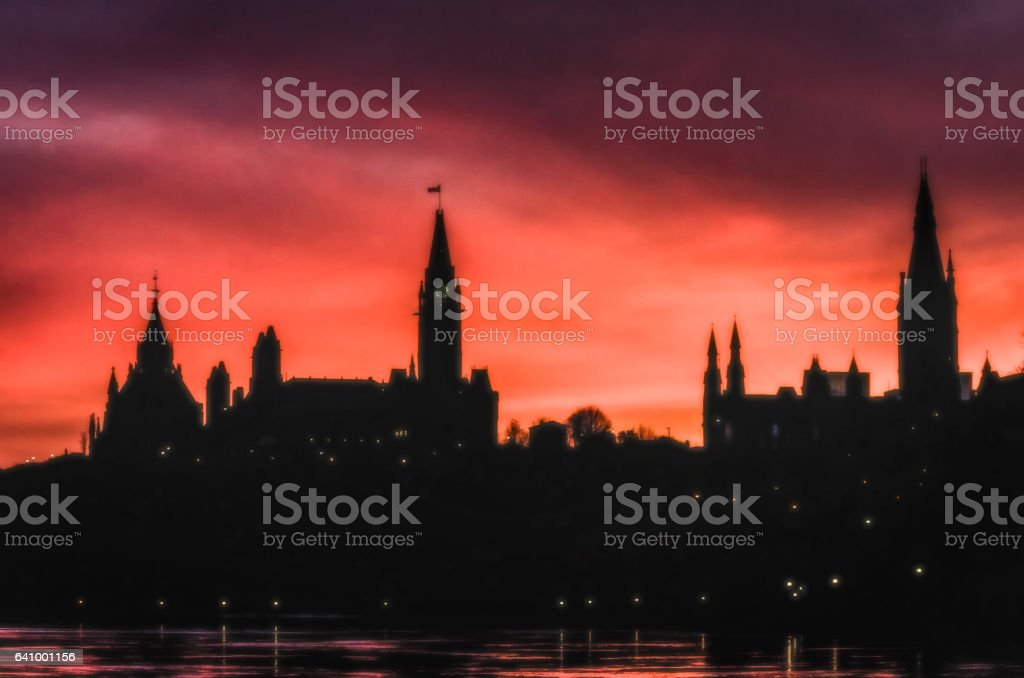Parliament of Canada at Sunrise (Backlit) stock photo