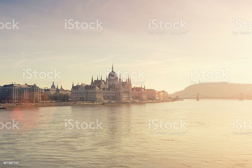 Parliament of Hungary in Budapest at sunset stock photo