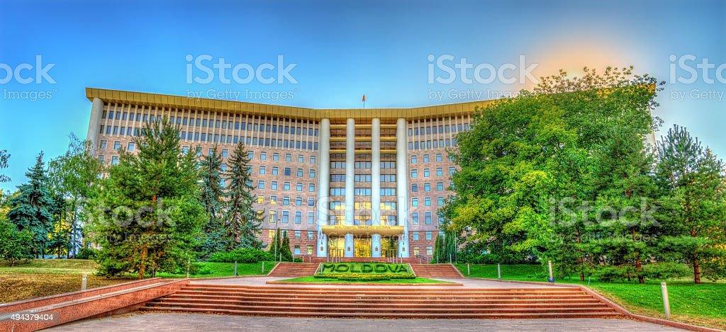 Parliament of the Republic of Moldova in Chisinau stock photo