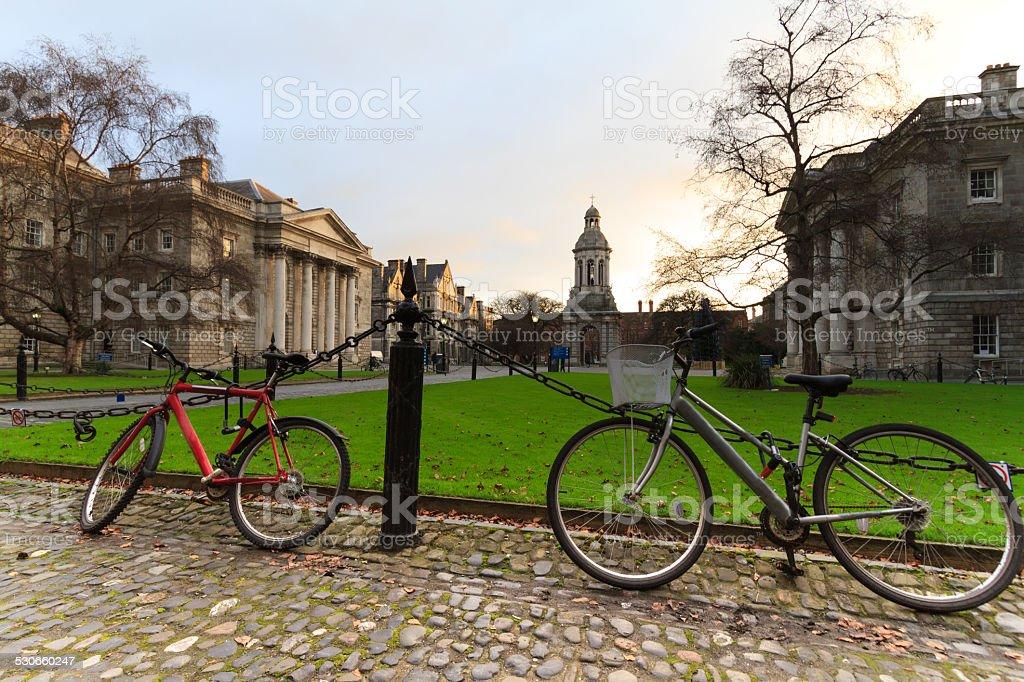Parliament Square at Trinity College, Dublin, Ireland stock photo