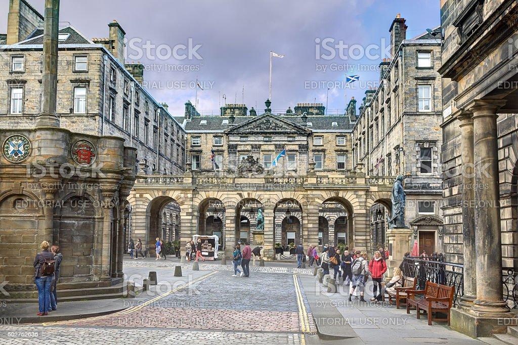 Parliament Square in Edinburgh, Scotland, United Kingdom. stock photo