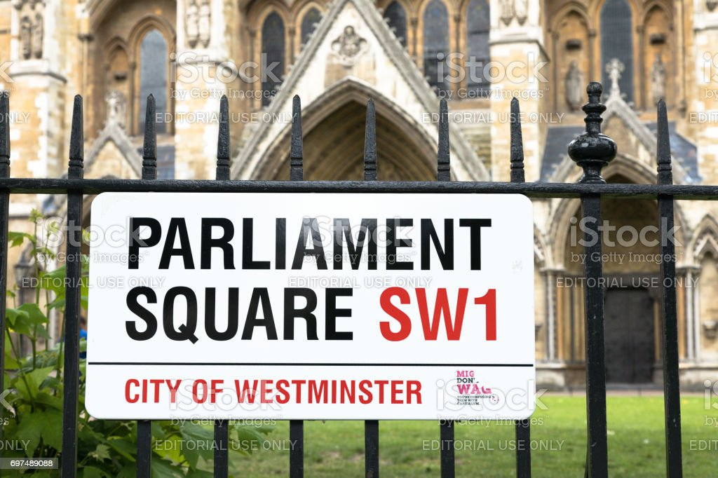 Parliament Square street sign stock photo