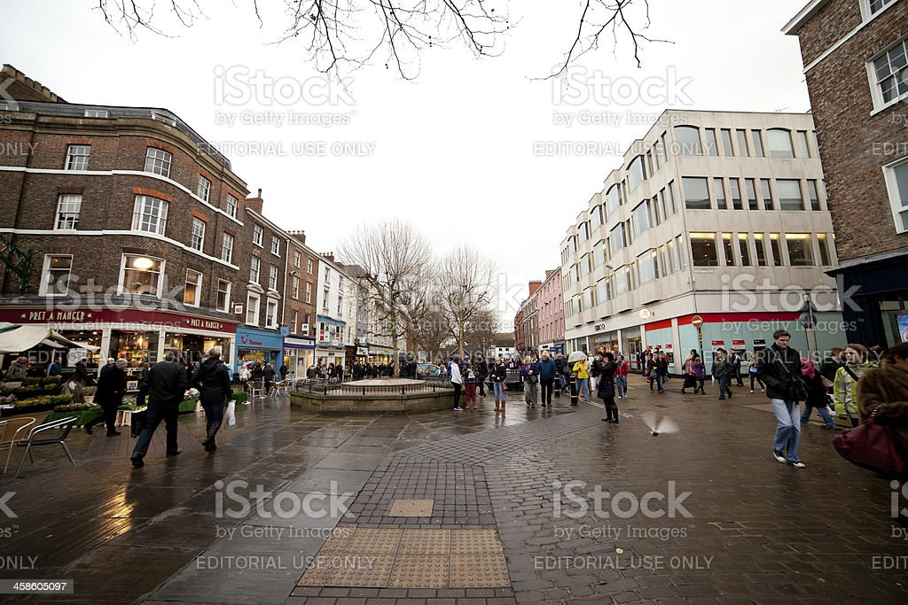 Parliament Street in York, with shoppers stock photo
