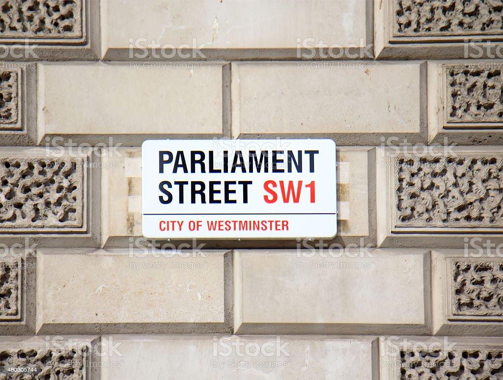 Parliament street sign stock photo