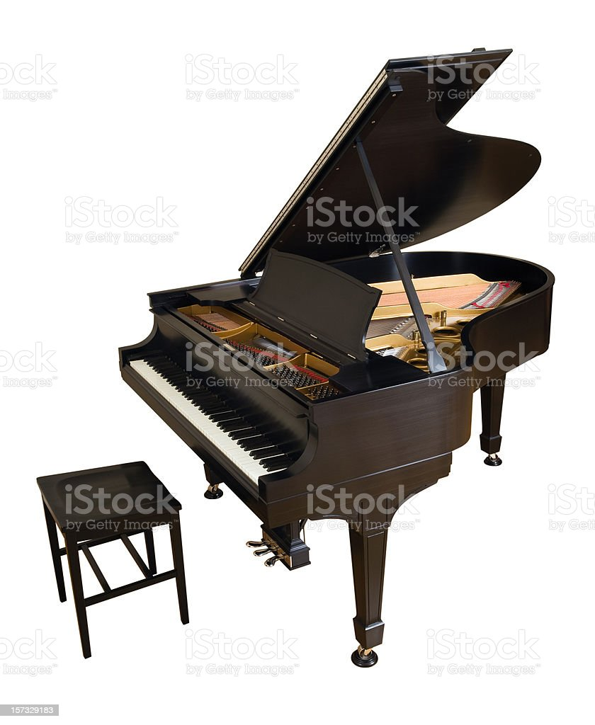 Parlor Grand Piano on White stock photo