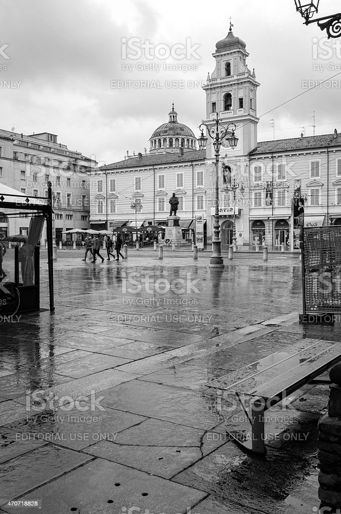 Parma city centre, raining day. Color image stock photo