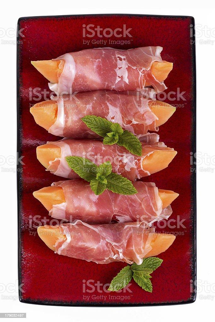 Parma ham and melon royalty-free stock photo