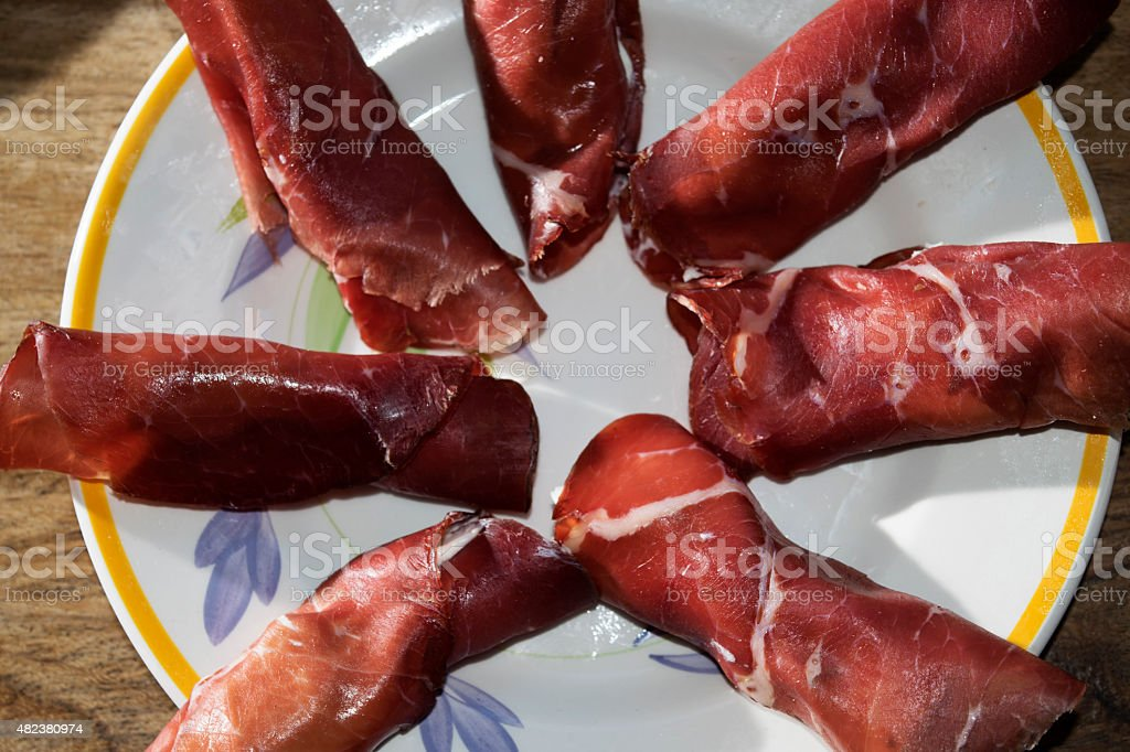 Parma ham roulade at the cheese stock photo