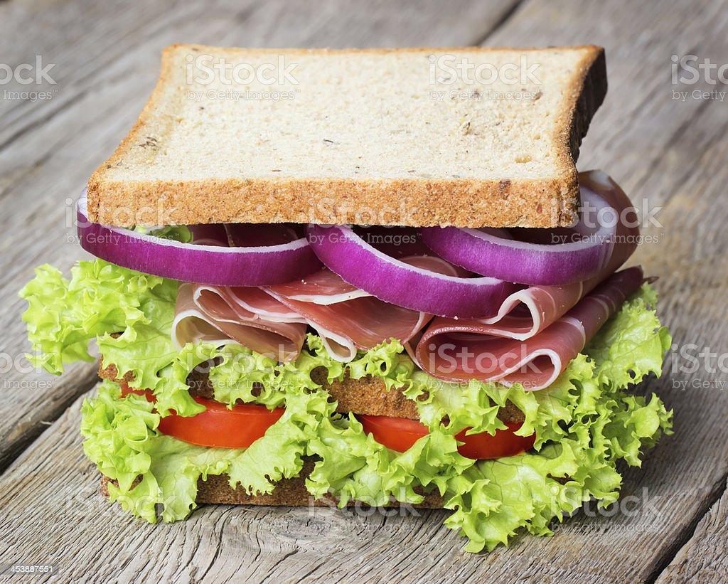 Parma ham sandwich royalty-free stock photo