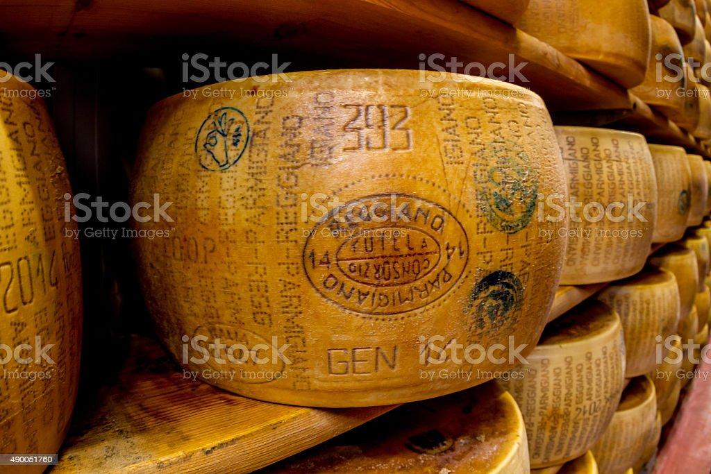 Parmagiano Reggiano cheese aging stock photo