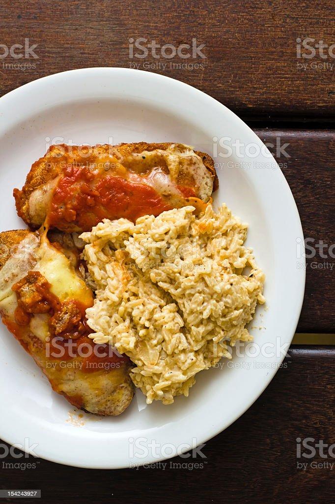 Parmegiana Filet with rice stock photo