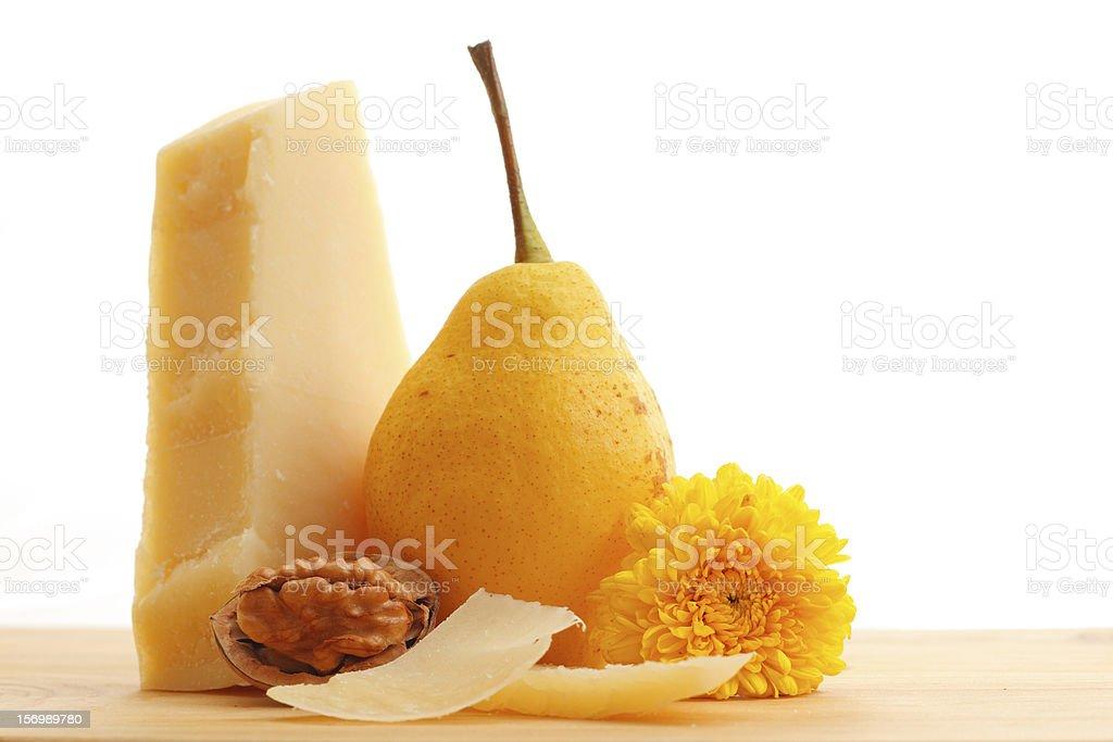 Parmesan cheese and fruits royalty-free stock photo