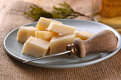 Parmesan cheese into cubes