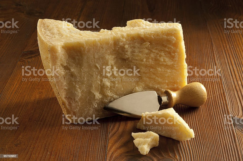 parmesan cheese on wood background stock photo