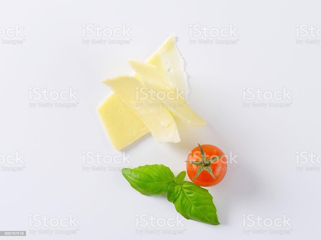parmesan cheese slices stock photo