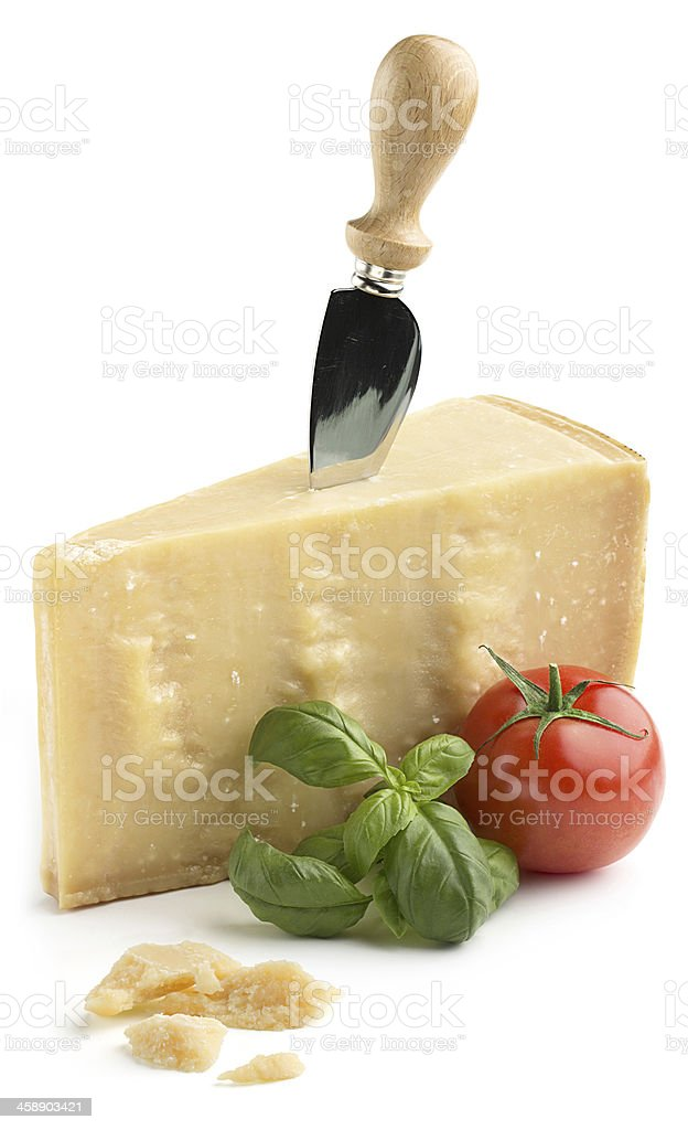 parmesan cheese with basil and tomato stock photo