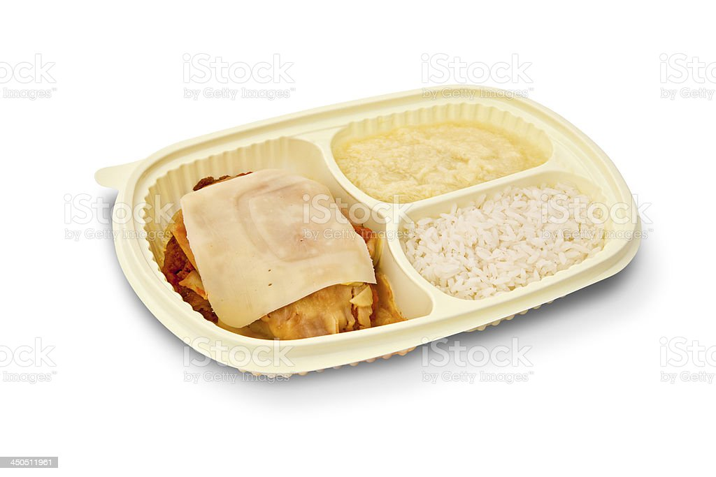 Parmesan chicken fillet, rice and mashed potatoes on white backg royalty-free stock photo