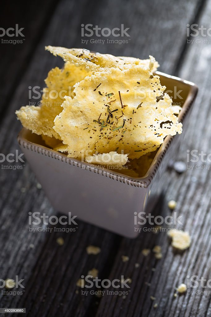 Parmesan chips stock photo
