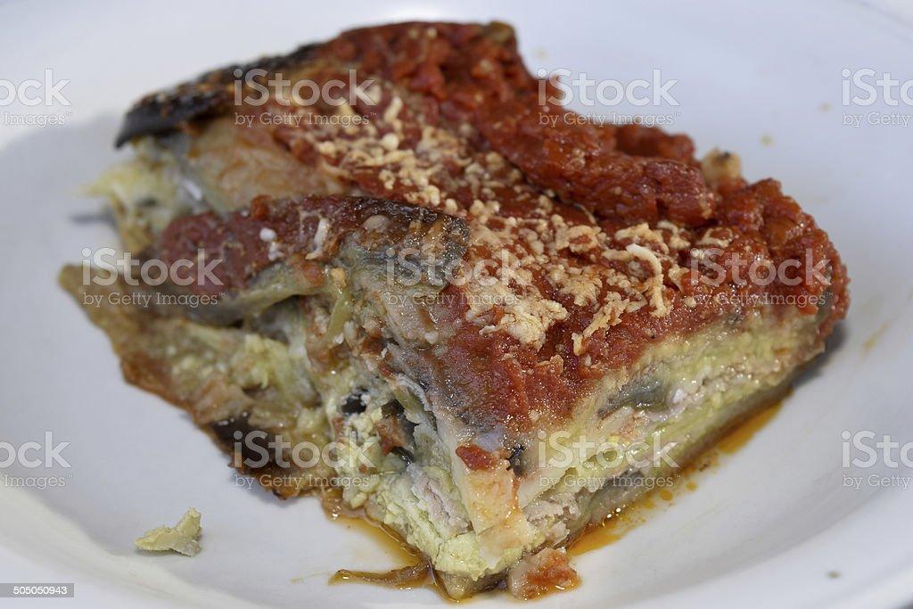 parmesan of aubergines stock photo