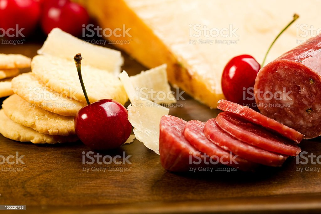 Parmesan shortbread biscuits and salami royalty-free stock photo