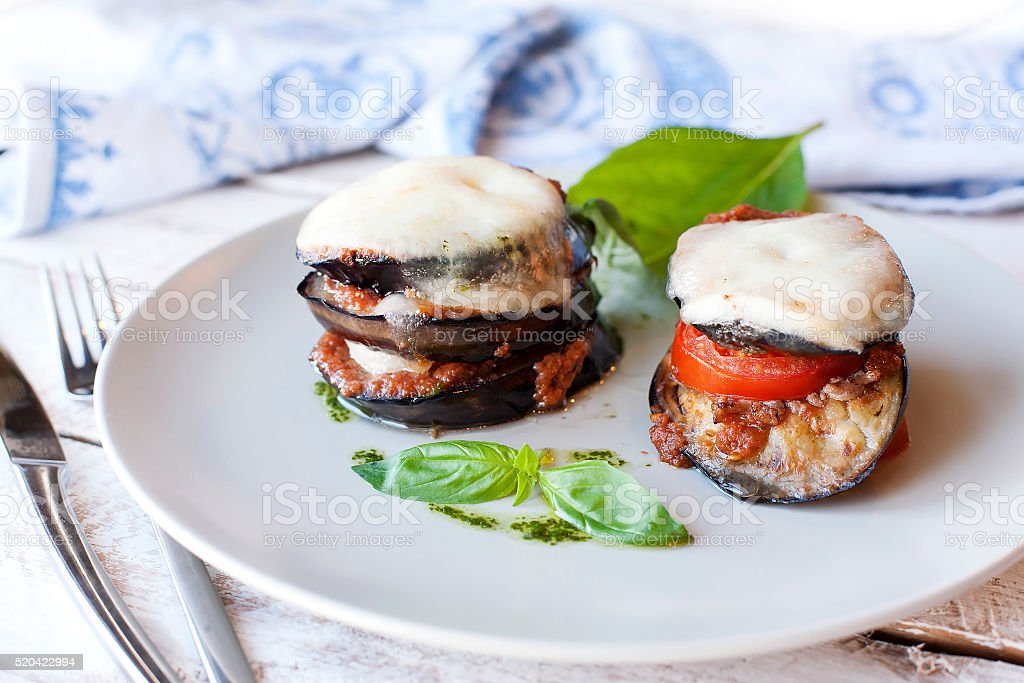 Parmigiana di melanzane: baked eggplant - italy stock photo