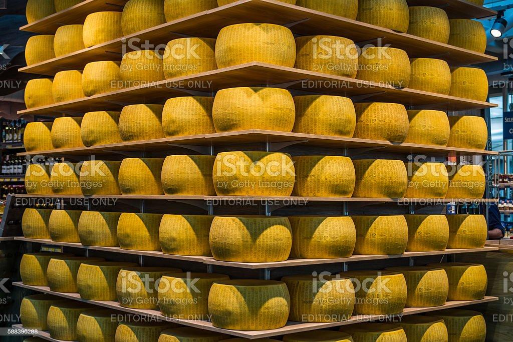 Parmigiano-Reggiano or Parmesan cheese of Parma, in Emilia-Romag stock photo