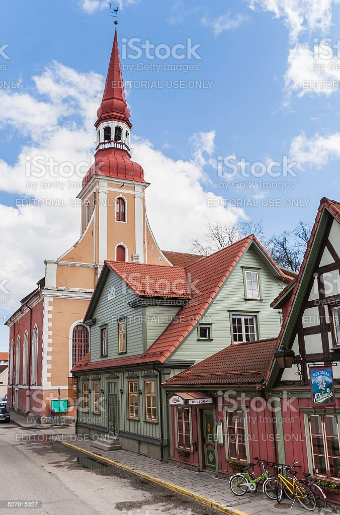 Parnu church and houses stock photo