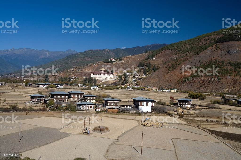 Paro Countryside and Dzong stock photo